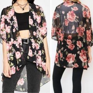 LIVE 4 TRUTH Sheer Black Floral Kimono Cardigan S